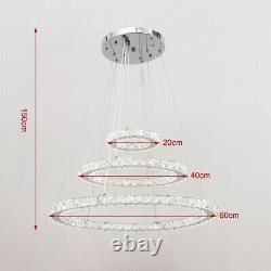 Luxury Chandelier Dimmable Led Cristal 3 Anneaux Pendentif Plafonnier Lumière Avec Télécommande