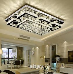 Luxury Crystal Chandelier Dimmable Lighting Modern Chrome Plafond Fixation Télécommande