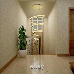 Luxury Led Spiral Cristal Plafond Lumière Chandelier Salon Stair Lampe 80cm