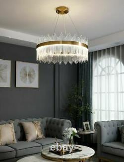 Luxury Or Cristal Verre Ronde Large Cercle Led Moderne Plafond Lumière Chandelier