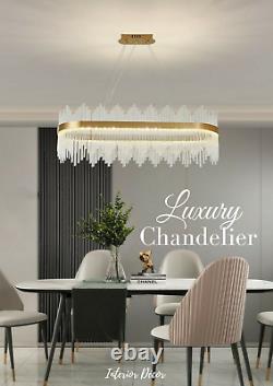 Luxury Or Cristal Verre Ronde Large Ovale Led Moderne Plafond Lumière Chandelier