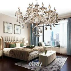 Maison Moderne 15 Bras Cristal Coupe Verre Chandelier Pendentif Plafond Cognac Lumière E14
