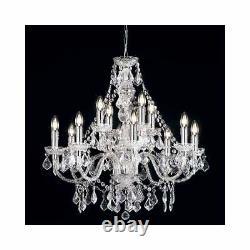 Milo Lighting Empire 12 Light Ceiling Chandelier Light Crystal, Acrylique Clear