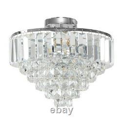 Minisun Plafonnier Lumière Moderne Chrome Raccord Véritable K9 Cristal Bijoux Ampoule Led