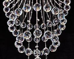 Modern Crystal Landelier Raindrop Éclairage Plafond Lumière Fixation Pendentif Lampe