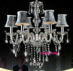 Modern Luxury Gris Lustre En Cristal Lustre Élégant Plafond Lampe Pendentif Lumière