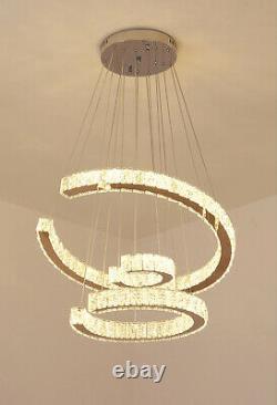 Moderne Cristal Lustre Led 3 Anneaux Pendentif Plafond Lumière Salle À Manger Cuisine