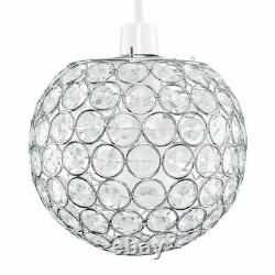 Moderne Easy Fit Clear Acrylic Ball Crystal Jewelled Ceiling Pendentif Light Shade