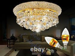 Moderne Fer K9 Crystal Chandelier Plafond Pendentif Light Lamp Gold 45x25cm