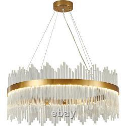 Moderne Golden Ring Crystal Chandelier 3 Leds Pendentif Lampe Plafond Lumière 50 CM