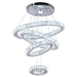 Moderne Led Cristal Rond Anneau Réglable Lampadaire Pendentif Lampadaire Plafonnier