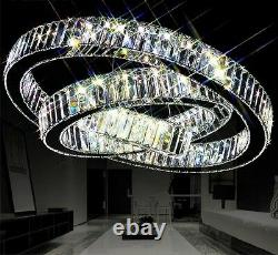 Moderne Led K9 Crystal 70x50x30cm Anneau Plafond Chandelier Pendentif Luminaires