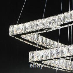 Moderne Lustre 2 3 Tier Square Led Plafond Suspension Lampe Pendentif En Cristal