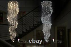 Moderne Lustre Led Spiral Cristal Lumière Plafond Villa Stairs Luminaire