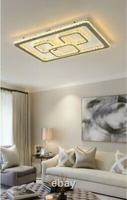 Moderne Rectangle Led Cristal Plafond Lumière Pendentif Chandelier Lampe Salon