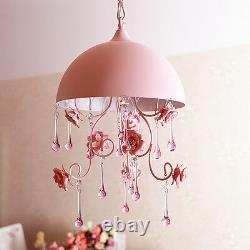 Nouveau Rose Rose Fleur Chandelier Lumière Cristal Pendentif Lampe Plafond Gift