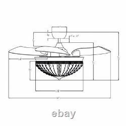 Oncle De Perroquet Moderne 42 Po. Ventilateur De Plafond Chrome Rétractable À L'intérieur Avec Remote