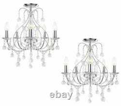 Paire De Luxe Chrome & Crystal 5 Light Ceiling Chandelier Lights Lounge Bhs