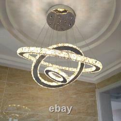 Pendentif En Cristal Dimmable Lumière 2/3 Anneau Led Chandelier Plafond Lampe 220v + Remote