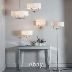 Pendentif Multi-lumière De Plafond 6 Ampoule Nickel Et Lustre Blanc Grande Lampe D'ombre