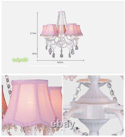 Pink Lamp Shade Girls Room Lighting 5 Light Crystal Kids Room Plafond Lustre