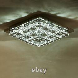 Plafond Led Carré Lumière 60cm 3 Niveaux Cristal Pendentif Grande Lampe De Chambre À Coucher De Cuisine