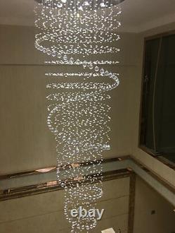 Plafond Moderne Ligh Led Cristal Pluie Goutte Spiral Lampes Pendentif De Luxe Chandelier