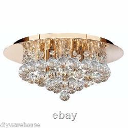 Projecteur 3404-4go Hanna Gold Finish 4 Lampe Flush Plafond Lumière Boules De Cristal