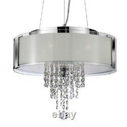 Projecteur 4 Lumière Chrome Boule De Cristal Gouttes Pendentif De Plafond Moderne Chandelier