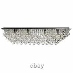 Projecteur 8 Lumières Chrome Boules De Cristal Rectangle Flush Plafond Chandelier Nouveau