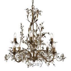 Projecteur Almandite 8 Lumière Traditionnelle Brown Or Cristal Plafond Lustre