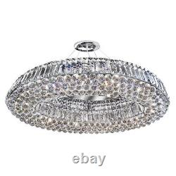 Projecteur Safia 10 Lumière Moderne Chrome Ovale Plafond De Cristal Raccordant Lustre
