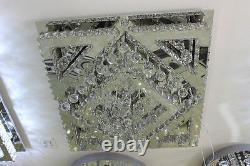 Square Clear Crystal Chandelier Lampe De Plafond G9+led Flush Mount Lighting Chrome