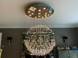 Superbe Excelsior Chrome & Crystal Ceiling Light / Chandelier Par Dar Lighting