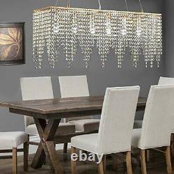 Suspendu Rose Gold Rectangle Island Crystal Chandelier Pendant Lighting Ceiling