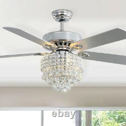 Ventilateur De Plafond Chrome 5 Lames Cristal Led Chandelier 3 Vitesse Avec Télécommande 52