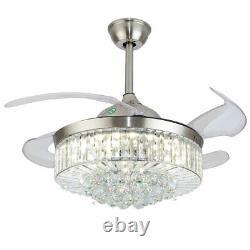 Ventilateur De Plafond En Cristal Lumière 36 Pouces Argent + Contrôle À Distance 3 Vitesse Led Moderne Rapide