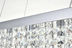Véritable Cristal & Verre Rectangulaire 5 Lumières Lampe De Plafond Pendentif Lustre Lumière