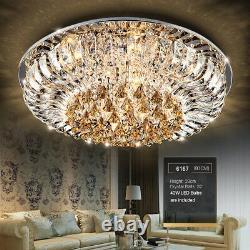 Véritable Lumière De Plafond De Lustre De Lustre En Cristal 3 Couleurs + Bluetooth À Distance Ctrl