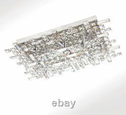 XL 62x40cm Cristal Plafond Lumière Plafonnier Lampe Lustre 9x Led G9 Ampoules Arjuna