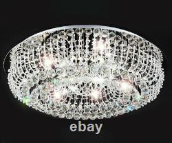XL Conduit Lustre De Lampe De Plafond En Cristal De Luxe Ø66cm Adelina Sous-lumière + 8xg9 +rc
