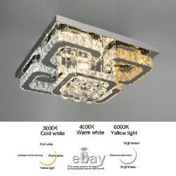 XL Square Led Cristal Plafond Lumière Pendentif Chandelier Lampe Salon Chambre