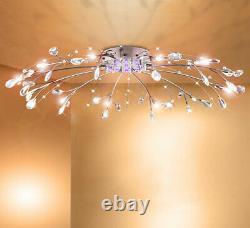 XXL Conduit Lampe De Plafond En Cristal Rc + Couleur Changer De Couleur Lustre 90cm 12 Bras